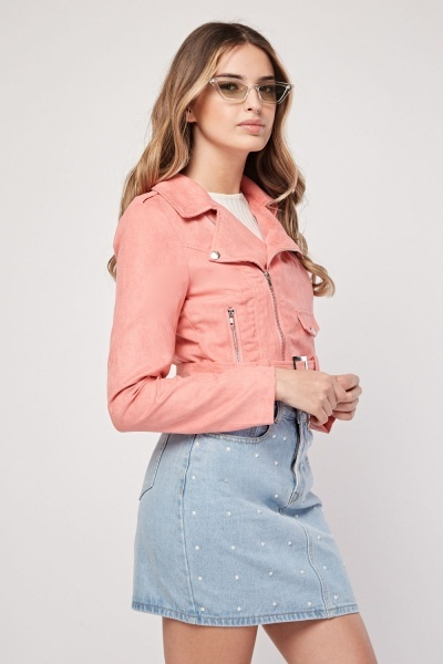 Pink Faux Suede Crop Jacket