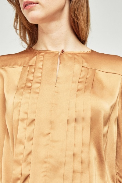 Pleated Gold Sateen Blouse