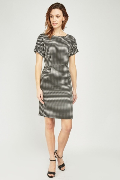 Polka Dot Midi Pencil Dress