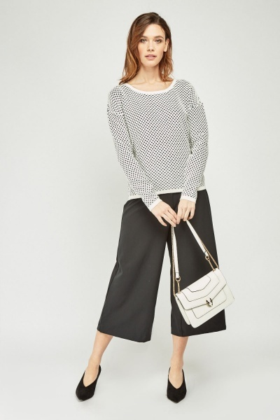 Scallop Cut Textured Knit Sweater