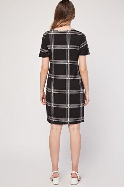 Windowpane Print Shift Dress
