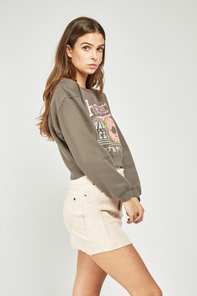Printed Front Crop Sweatshirt