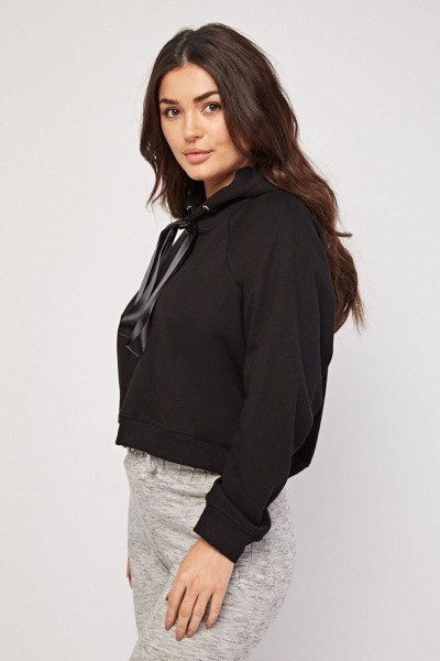 Ribbon Tie Up Casual Crop Hoodie