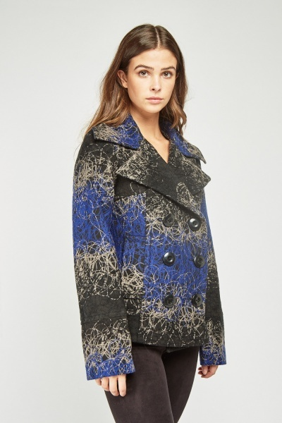 Scattered Stitched Pea Jacket
