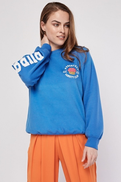 Applique Sleeve Blue Sweatshirt