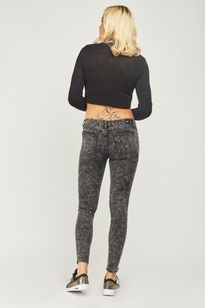 Ruched Biker Style Skinny Jeans