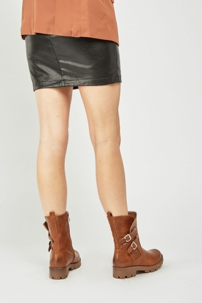 Twin Buckle Side Faux Leather Boots