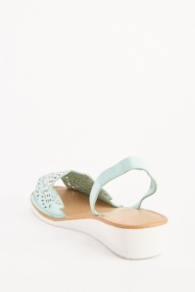 Laser Cut Low Wedge Sandals
