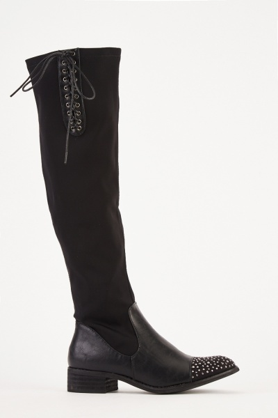Encrusted Front Faux Suede Boots