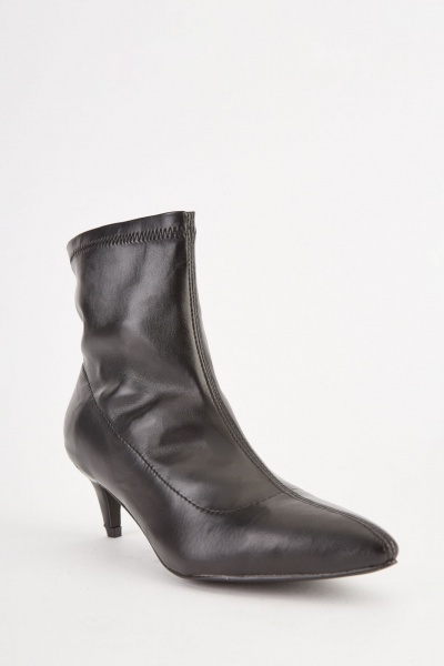 Faux Leather Kitten Heel Boots