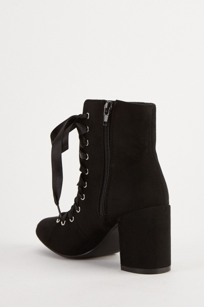 Open Lace Up Suedette Boots