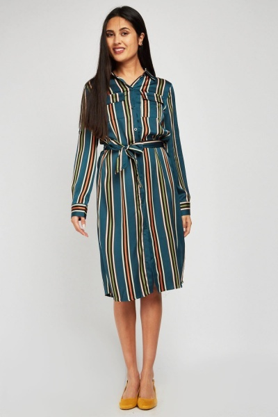 Striped Midi Shirt Dress