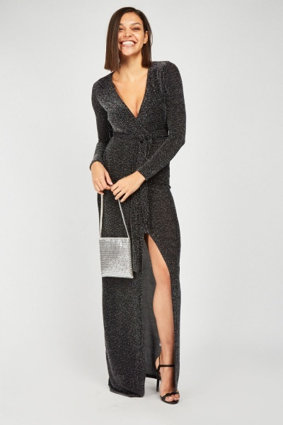 Glittered Maxi Wrap Dress