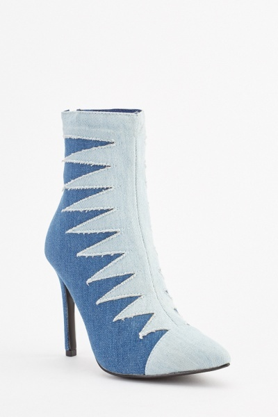Denim Stitched Heeled Ankle Boots