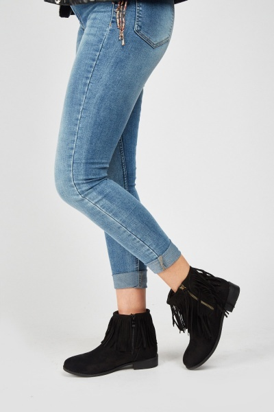 Tassel Trim Ankle Boots