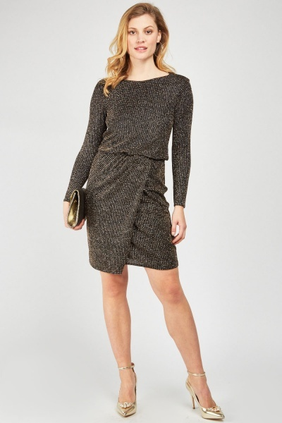 Glitter Encrusted Wrap Dress