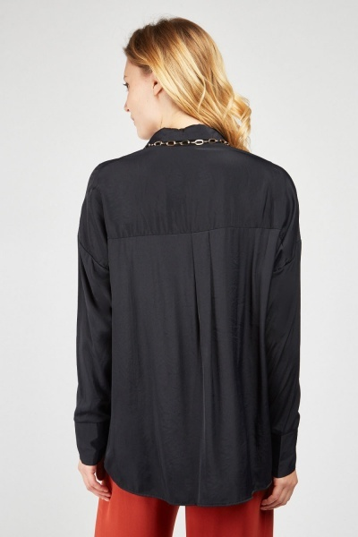 Open Front Sateen Blouse
