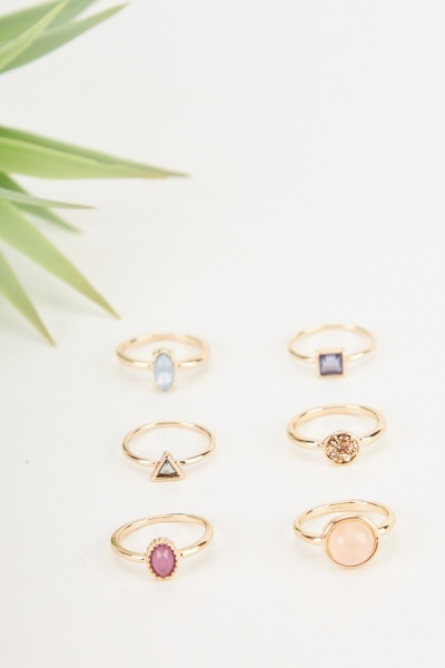Set Of 6 Gold Effect Rings