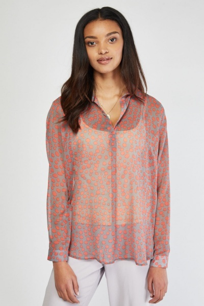 Sheer Speckled Dot Print Blouse