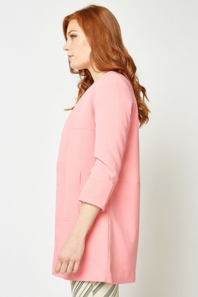 Collarless Pink Duster Coat