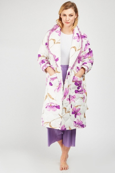 Lace Floral Quilted House Coat