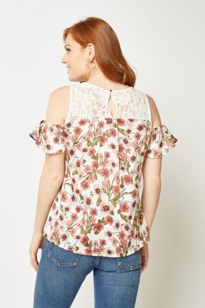 Lace Insert Ruffle Printed Top