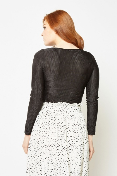 Long Sleeve Black Plisse Top