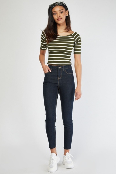 Low Waist Denim Skinny Jeans