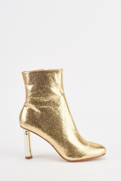 Metallic Textured Ankle Boots