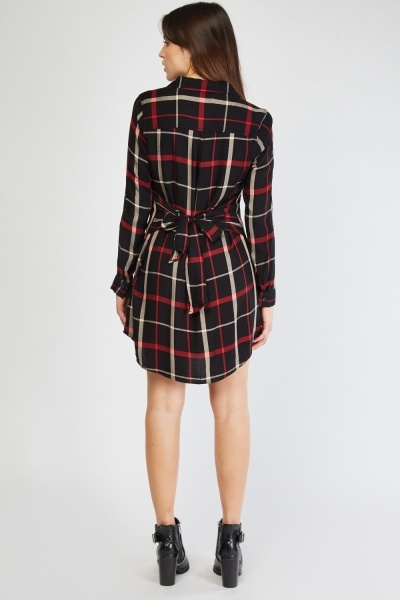 Belted Checked Shirt Dress