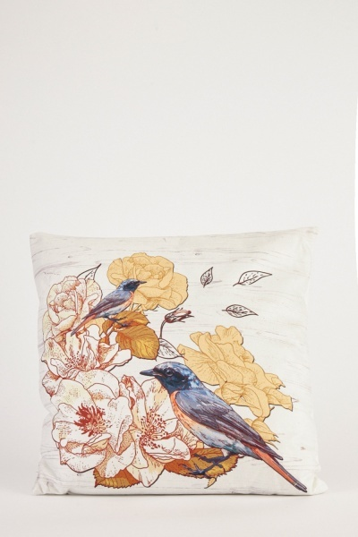 Bird Floral Print Cushion