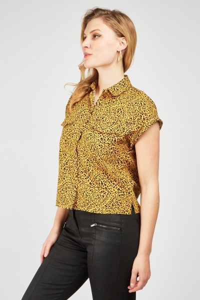 Cheetah Print Short Sleeve Shirt