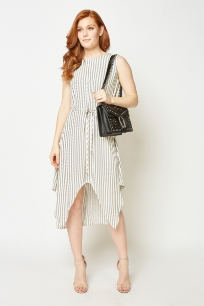 Sleeveless Striped Asymmetric Dress