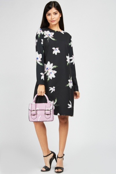 Zibi London Long Sleeve Shift Floral Dress