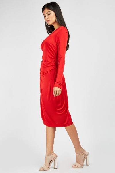 Zibi London Ruched Midi Dress