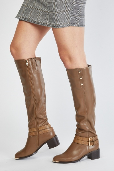 Encrusted Side Knee High Boots
