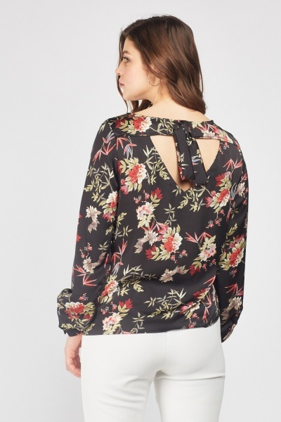 Floral Tie Up Back Blouse