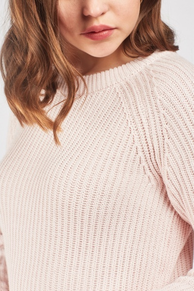 Herringbone Ribbed Trim Knit Jumper