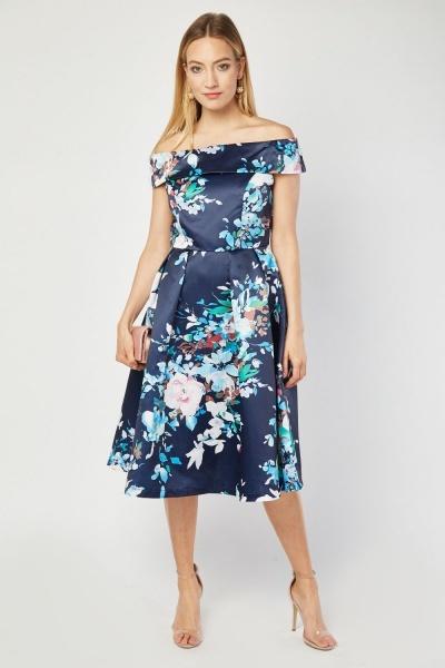 Jolie Moi Bardot Style Floral Dress - Navy Multi - Just £30 b18dee540
