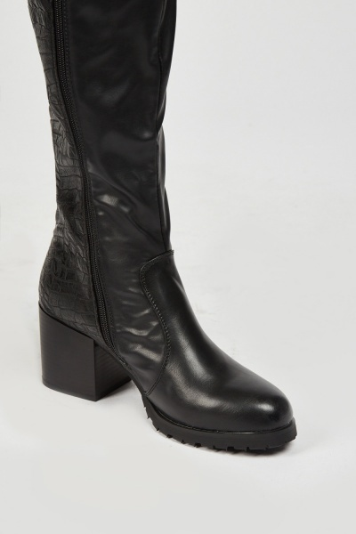 Mock Croc Contrasted Heeled Boots