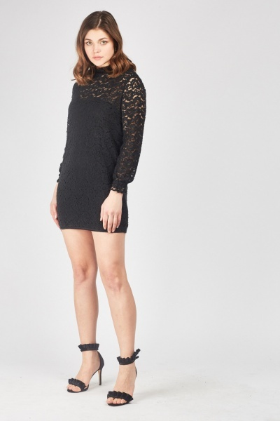 Patterned Mesh Overlay Shift Dress