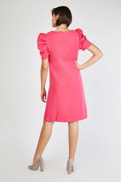 Puff Sleeve Midi Shift Dress