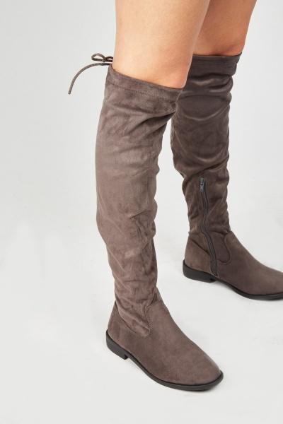 Tie Up Back Suedette Knee High Boots