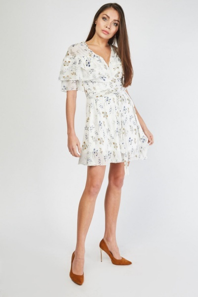 Tiered Floral Wrap Dress