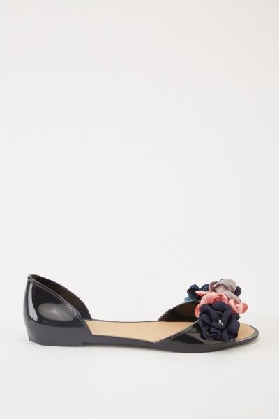 2de8997be8b6 3D Flower Cut Out Jelly Sandals - Black Multi - Just £5