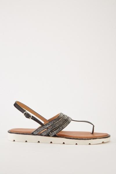 25de1d0616e5 Embellished Lace Up Flat Sandals - White - Just £5