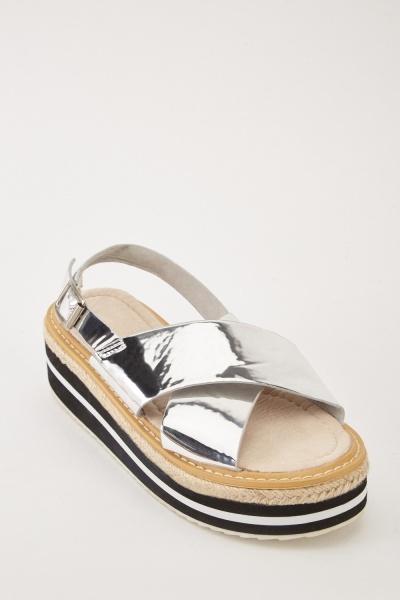 b0f4522d07a Metallic Criss Cross Strap Sandals - Just £5