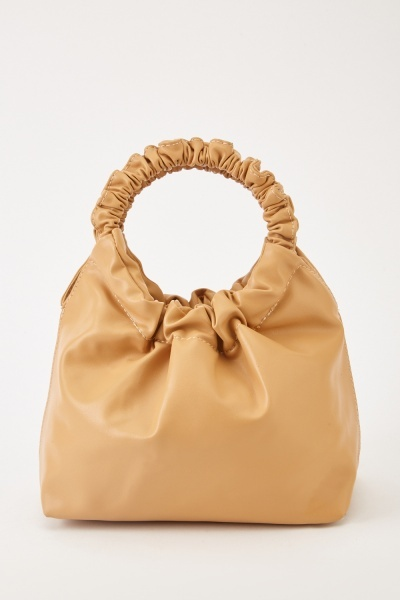 Ruched Faux Leather Hobo Bag