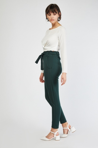 Belted Green Tapered Trousers