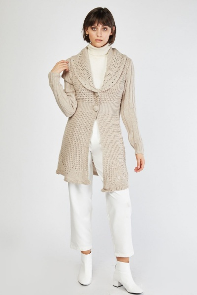 Crochet Knit Collar Cardigan
